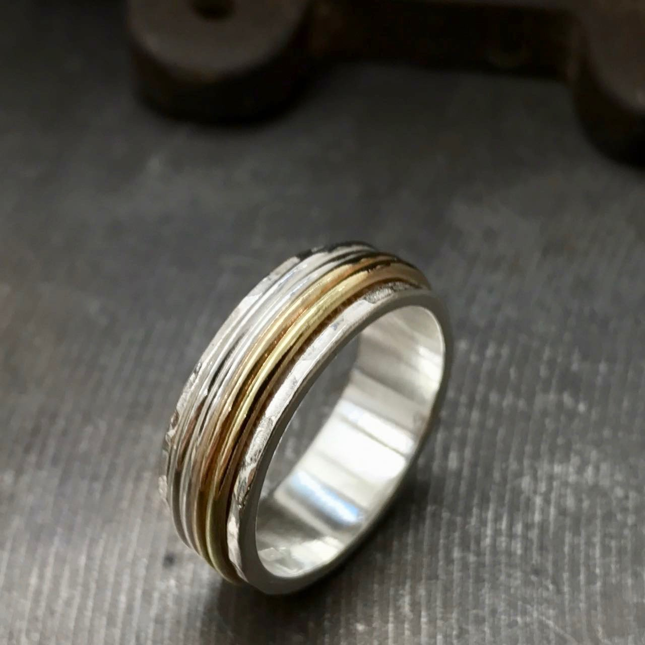Silver and gold multi band narrow spinner ring size 5 to 11