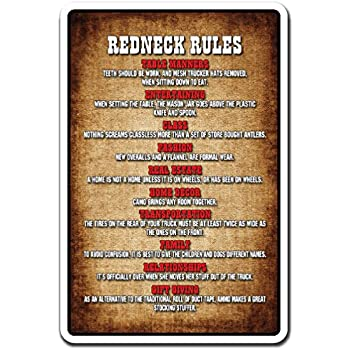 Redneck Rules Novelty Sign | Indoor/Outdoor | Funny Home Décor For Garages,  Living Rooms, Bedroom, Offices | SignMission Gift Country Southern  Hillbilly ...