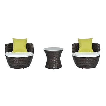 Outsunny Salon de jardin empilable en rotin 2 fauteuils avec table ...