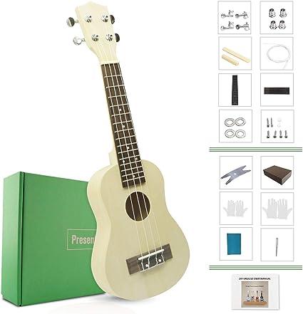 jyfy 21 pulgadas Soprano Ukulele Hawaiano guitarra DIY Kits hacer ...