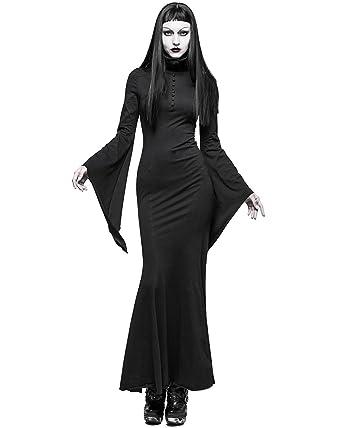 295e15e17d4f4 Punk Rave - Robe - Avec col - Manches Longues - Femme noir noir - noir