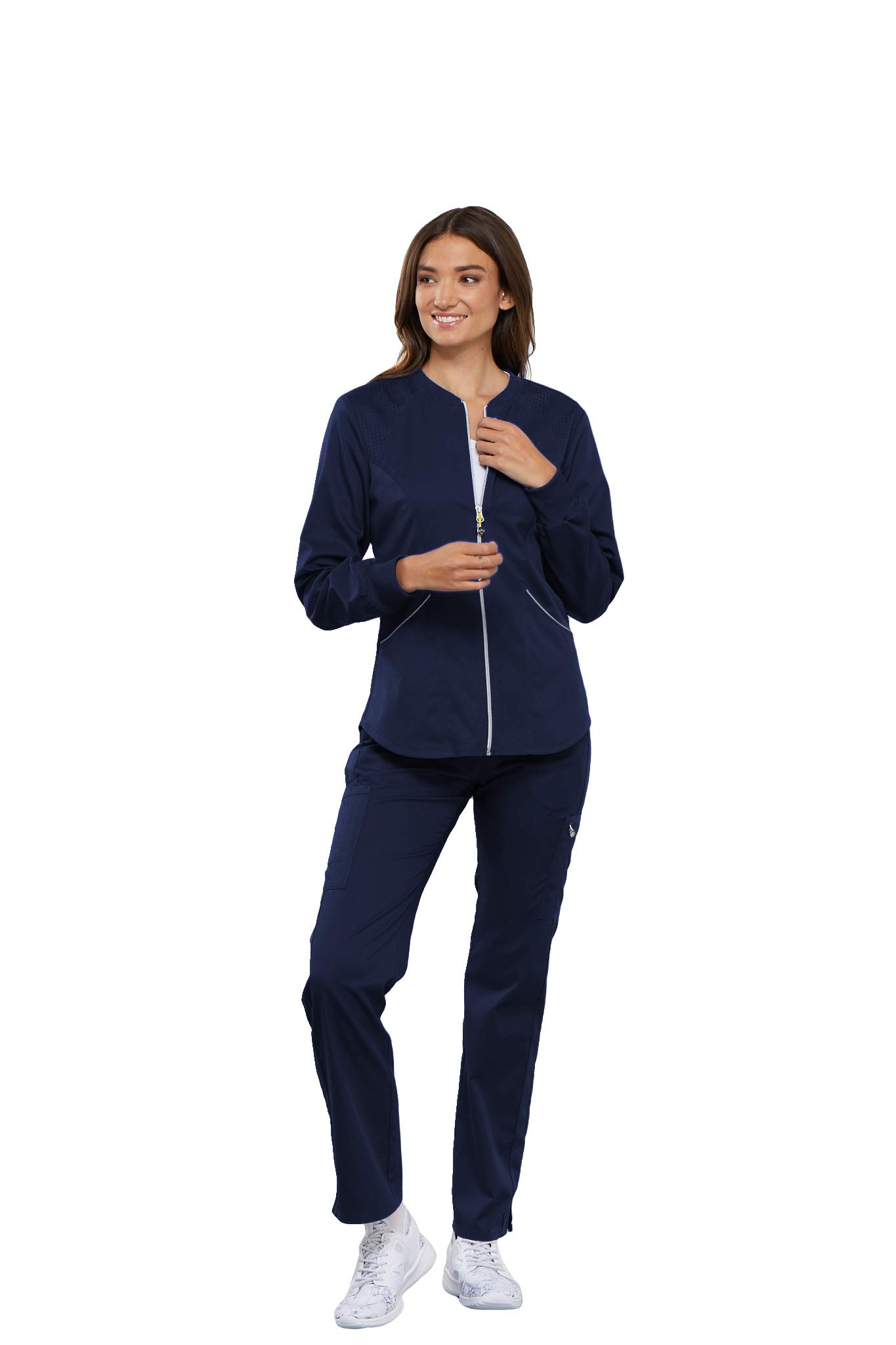 Cherokee Women's Luxe Sport Zip Front Warm-up Jacket, Navy, L