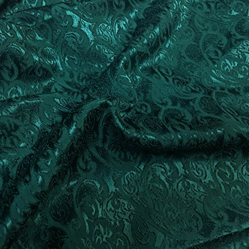 Green Hearts and Torns Design Jacquard Brocade Cotton Poly Fabric Sold by The Yard (Poly Brocade)