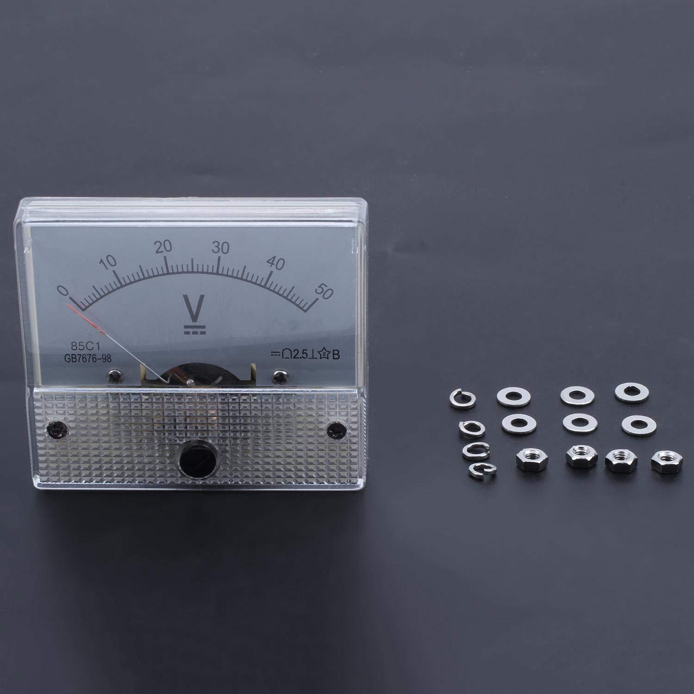 CUHAWUDBA Gauge 0-50Vdc Analog Panel Meter Tension Volt M/ètre Voltm/ètre Blanc 85C1 Dc 50V
