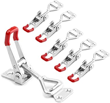 Toggle Clamp 4002 485lbs 6Pcs Woodworking Clamps Adjustable Antislip Quick Release and Fast Fix Red Hasp Toggle Clamps for Woodworking Tools and Accessories