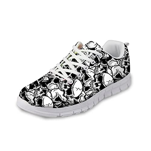 0bcafdc9430f8 FOR U DESIGNS Cool Skull Print Women's Breathable Light Weight Lace Up  Fashion Sneakers Comfortable Running Shoes