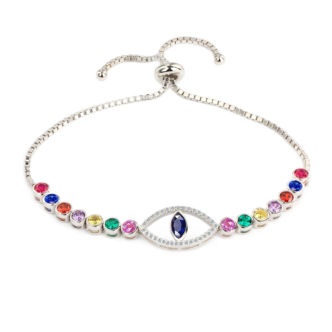 COTO Sterling Silver Adjustable Women Bracelets Round Cut Cubic Zirconia Paved Slider Evil Eye Tennis Bracelet Jewelry for Women Girls