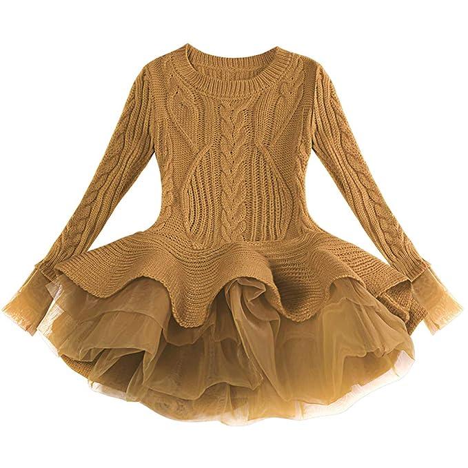 4b0f5685b09 Little Girls Ruffle Sweater Tutu Dress Long Sleeve Crochet Stitching  Knitting Jumper Pullover Tops Toddler Kids