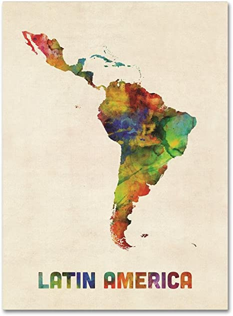 South America Watercolor Map By Michael Tompsett 14x19 Inch Canvas Wall Art Posters Prints