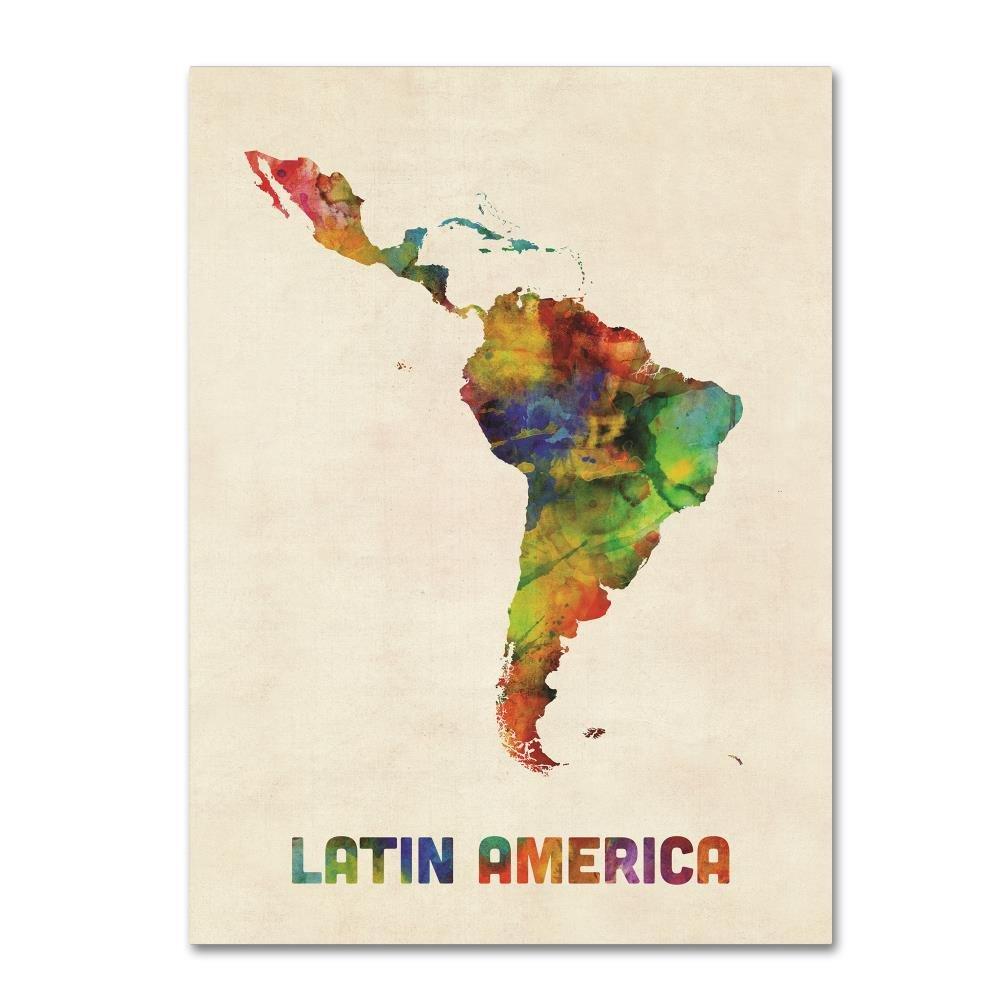 Trademark Fine Art South America Watercolor Map by Michael Tompsett, 24x32-Inch Canvas Wall Art
