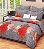 Home Candy 144 TC Floral Cotton Double Bed Sheet with 2 Pillow Covers - Multicolour