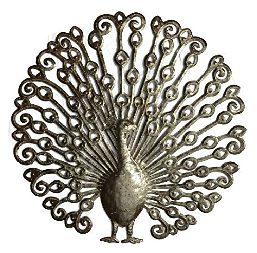 Peacock, Full Feathered Wall Decor, Recycled Metal Art, 23 in. X 23 in.