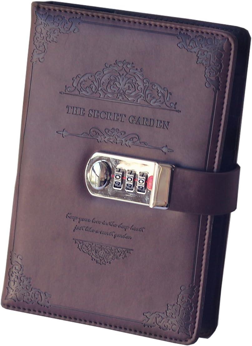 Ai-life Retro Vintage Cuaderno de Cuero PU Notebook Diario Planificado Organizador con Cerradura de Combinación, Diario Bloc de Notas Contraseña Cuaderno(200x130mm)