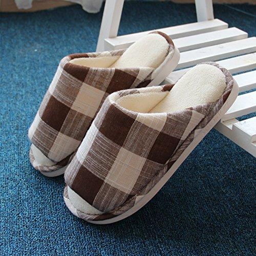 Laxba Women Men Chaussons D'intérieur Antidérapants Pour Chaussures Café
