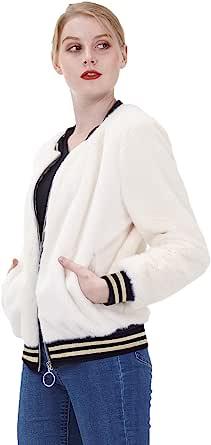 Amandina Luxe Women Long Sleeve With Pockets Classic Zip up Casual Bomber Jacket Coat