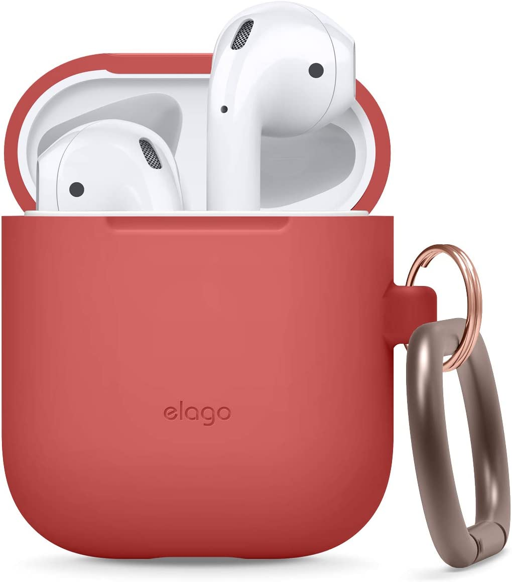 elago Silicone Case with Keychain Designed for Apple AirPods Case [Red]