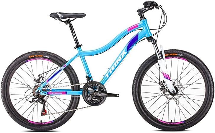 GONGFF Bicicletas de montaña para Mujer, Bicicleta de montaña de 21 velocidades con Doble Disco de Freno, Bicicleta de montaña rígida de suspensión Delantera, Bicicleta para Adultos, 24 Pulgadas Azul: Amazon.es: Hogar