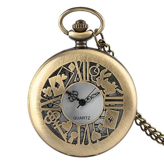 Reloj de Bolsillo Alice in Wonder, Reloj de Bolsillo Wander Time Magic Hueco Bronce Cuarzo Relojes de Bolsillo, Hombres: Amazon.es: Relojes