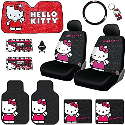 New 12 Pieces Hello Kitty Car Seat Cover With 4 Rubber Mats License Plate Frame