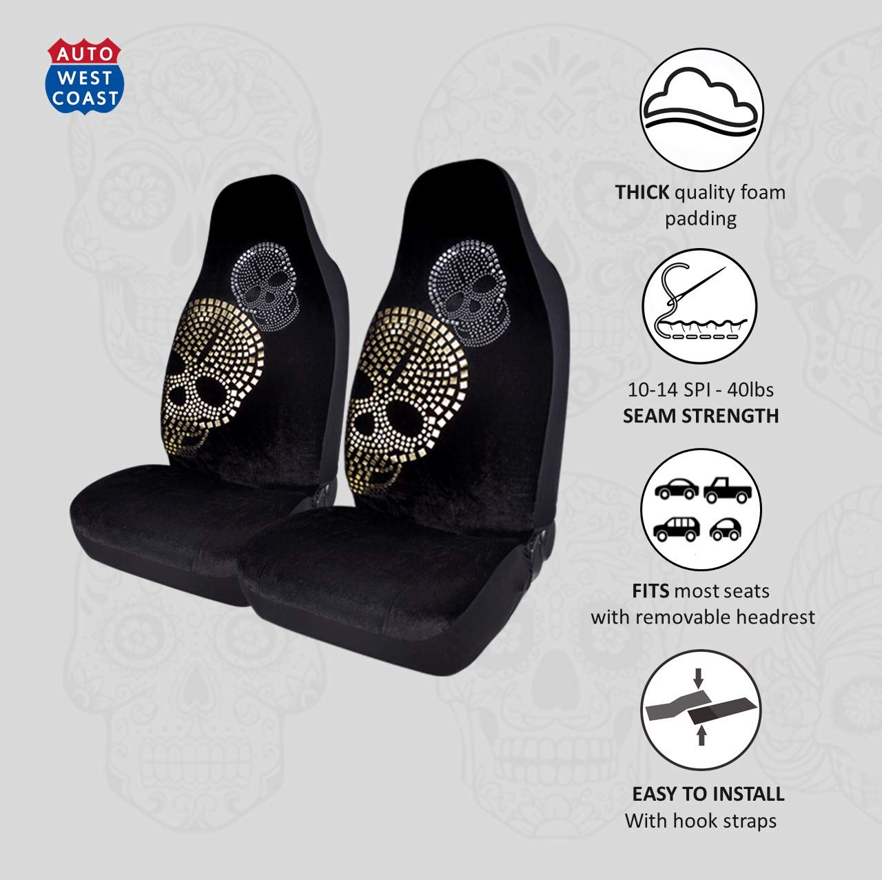 Pleasant West Coast Auto Car Seat Covers For Cars Trucks Vans Suvs And Crossovers Fashion Foil Print Diamond Skull Beads Airbag Compatible Gold Skull Forskolin Free Trial Chair Design Images Forskolin Free Trialorg