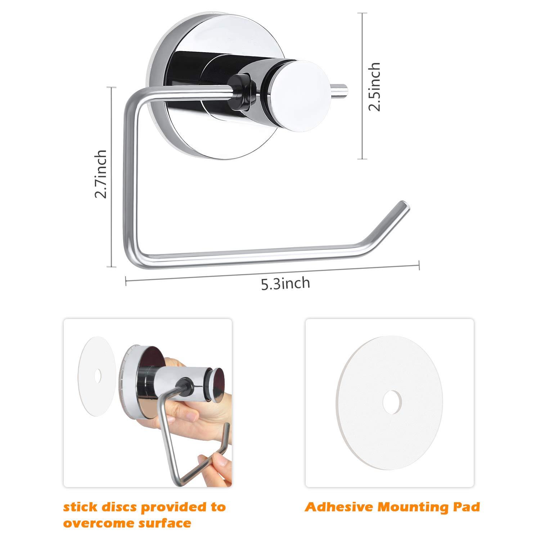 Edelstahl einfache Installation Chrom Sodee Toilettenpapierhalter mit Saugnapf f/ür Bad /& K/üche