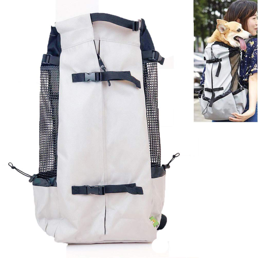 WLDOCA Adjustable Dog Carrier Backpack Outdoor Sports Bag,Front Legs Out, Easy-Fit Traveling Hiking Camping, (11.8  Lx7.8 W X16.9 Hless Than 22Lbs), Silver