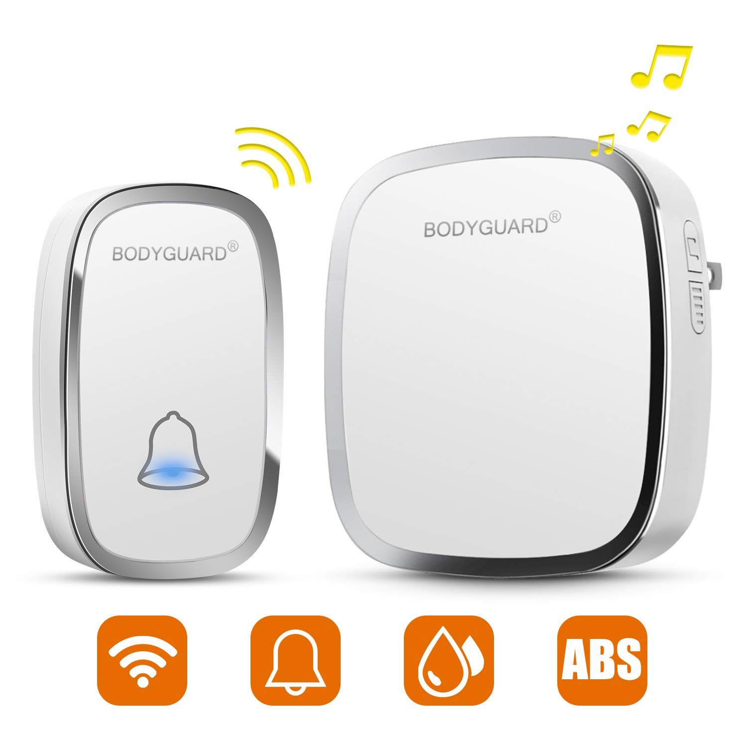 Bodyguard Wireless Doorbell with 1 Remote Button (Battery included) and 1 plug-in Receivers Operating at 1000 Feet, Over 36 Chimes, 4 Level Volume LED Flash (White)