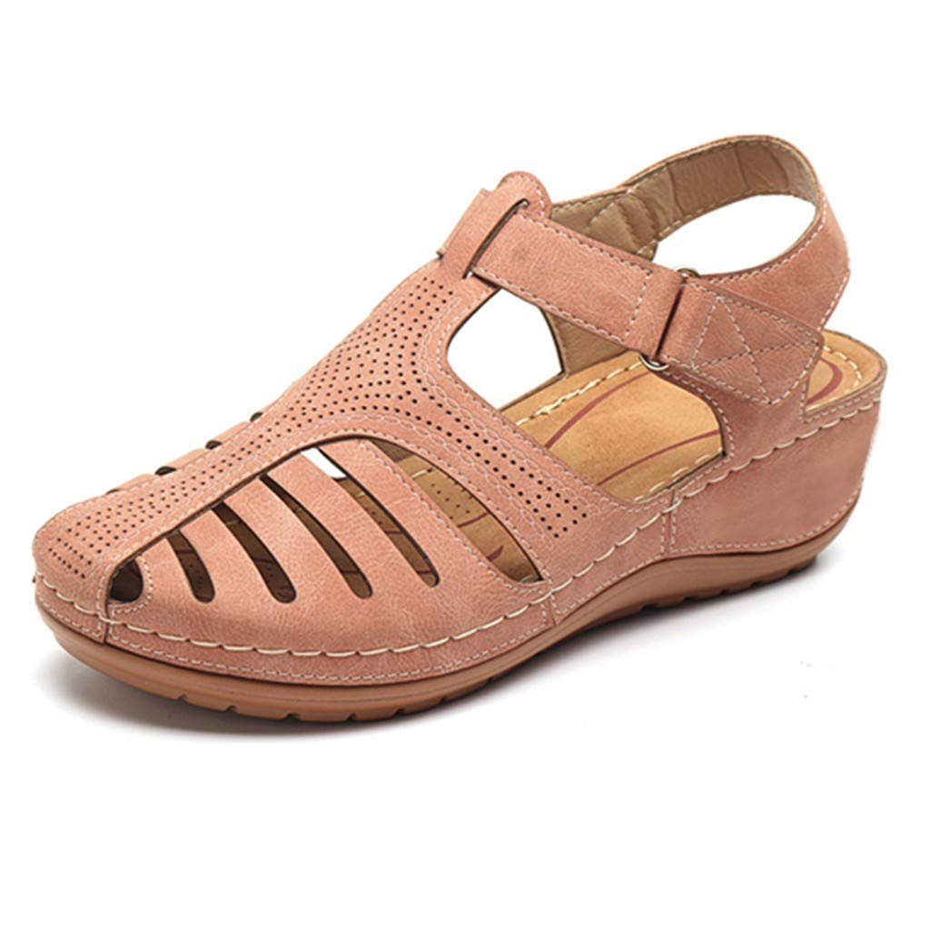 Womens Leather Shoes Sandals New in HAALIFE◕‿ Casual Closed Sandals for Women Comfy Flat Fashion Summer Sandal Shoes by HAALIFE Shoes