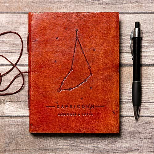 Capricorn Zodiac Horoscope Handmade Leather Journal, Travel Journal, Embossed Quality Diary, Brown, Soft Cover Writing Organizer, Bound Notebook For Travel, Camping, Home, Trips, Scrapbook