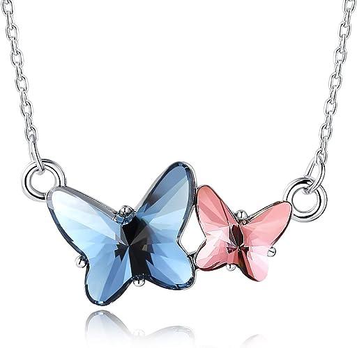 Ailin & Co. Élégant collier pendentif papillon pour fille/femme fabriqué  avec des cristaux Swarovski, chaîne de 45,7 cm