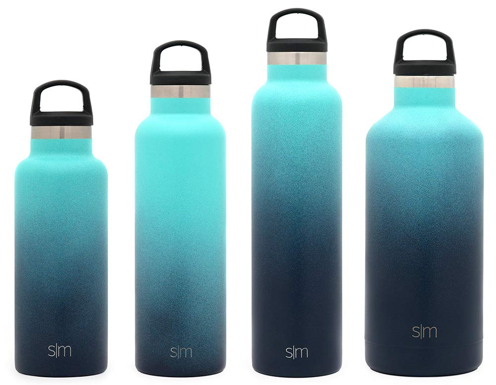 Simple Modern 20oz Ascent Water Bottle - Stainless Steel Hydro Swell Flask w/Handle Lid - Double Wall Vacuum Insulated Reusable Tumbler Small Kids Coffee Leakproof Thermos - Bermuda Deep