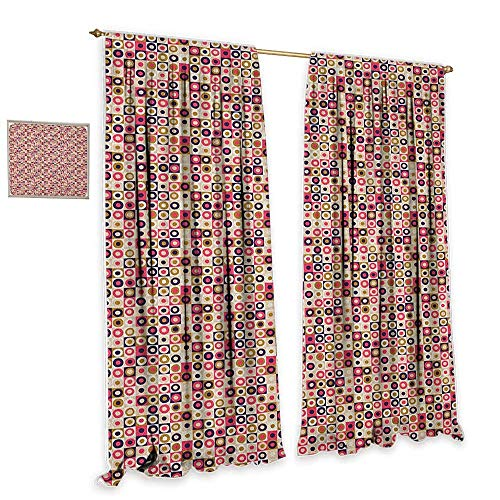 cobeDecor Geometric Light Luxury high-end Curtains Grid Design Checkered Squares with Colorful Bullseye Circles Doodle Style Image Blackout 72