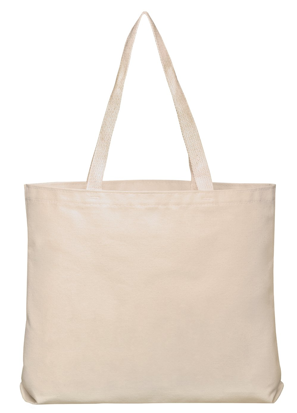 Set of 25 10oz Cotton Canvas Shoulder Tote Bags - Reusable Made in USA (Natural)