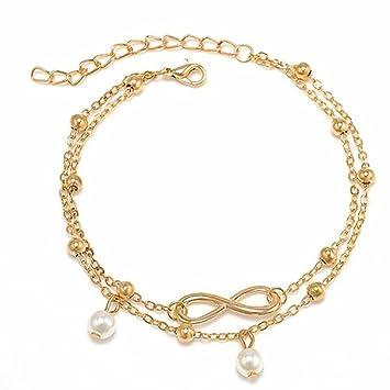 Fußkettchen Silber Gold Damen Armband Perlen Fußschmuck Kette Frauen Frau Dame