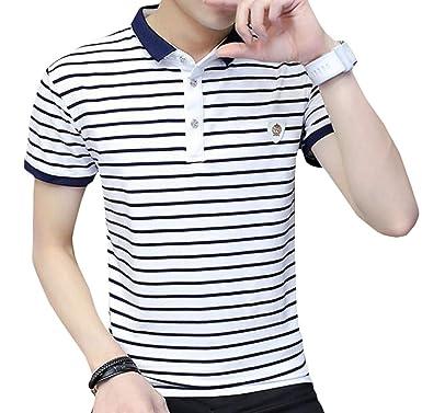 77ad63115eb89 Wofupowga Men's Lapel Collar Slim Short Sleeve Top Polos Shirt ...