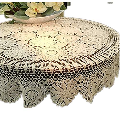 Yizunnu Beige Round Handmade Crochet Tablecloth Cotton Lace Table Doilies (51