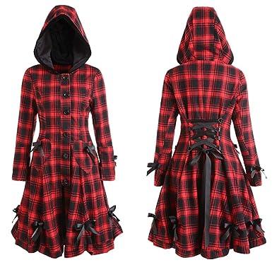 d1e98fa38b5 HHei K Womens Retro Steampunk Lace Up Hooded Trench Coat Long Sleeve  Bowknot Button Jacket Blazer Hoddies