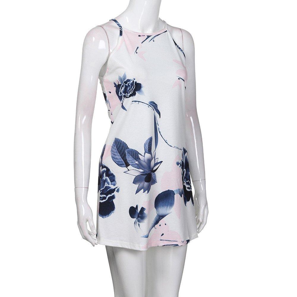 Quealent Womens Casual Sleeveless Halter Neck Boho Print Short Dress Sundress