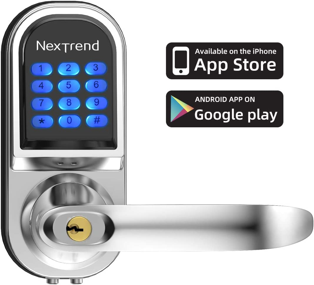 Smart Lock, NexTrend Keyless Entry Keypad Door Lock Electronic Front Door Lock Free APP Control with Mechanical, Remote Sharing, Send eKeys for Home, Hotel, Apartment, Right Handle