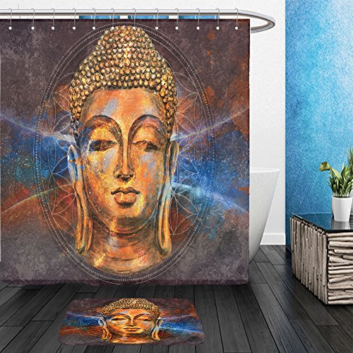 Star Lord Costume Ebay (Vanfan Bathroom 2?Suits 1 Shower Curtains & ?1 Floor Mats head of lord buddha digital art collage combined with watercolor buddha purnima background 598072331 From Bath room)