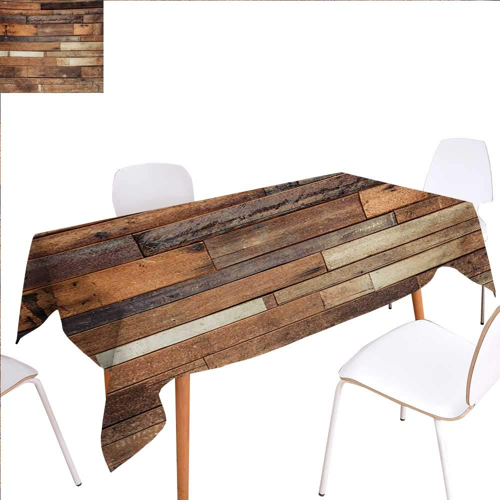 """familytaste Wooden Dinner Picnic Table ClothRustic Floor Planks Print Grungy Look Farm House Country Style Walnut Oak Grain Image Waterproof Table Cover for Kitchen 60""""x120"""" Brown"""