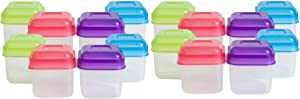 Evriholder Portion Packers Mini Food Storage Containers, 1/2 Cup, Pack of 16 ea, Assorted Colors