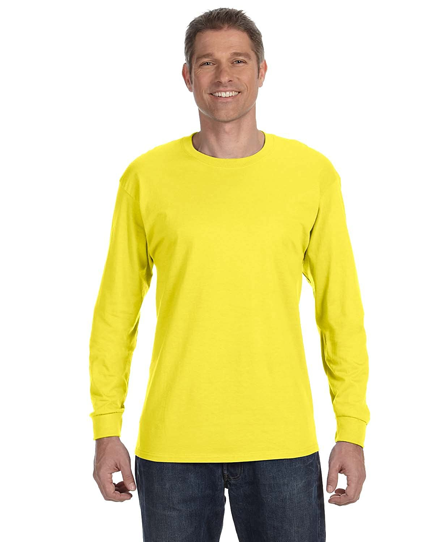 Hanes 5586 Mens Tagless Long Sleeve T-Shirt Yellow Pack of 2