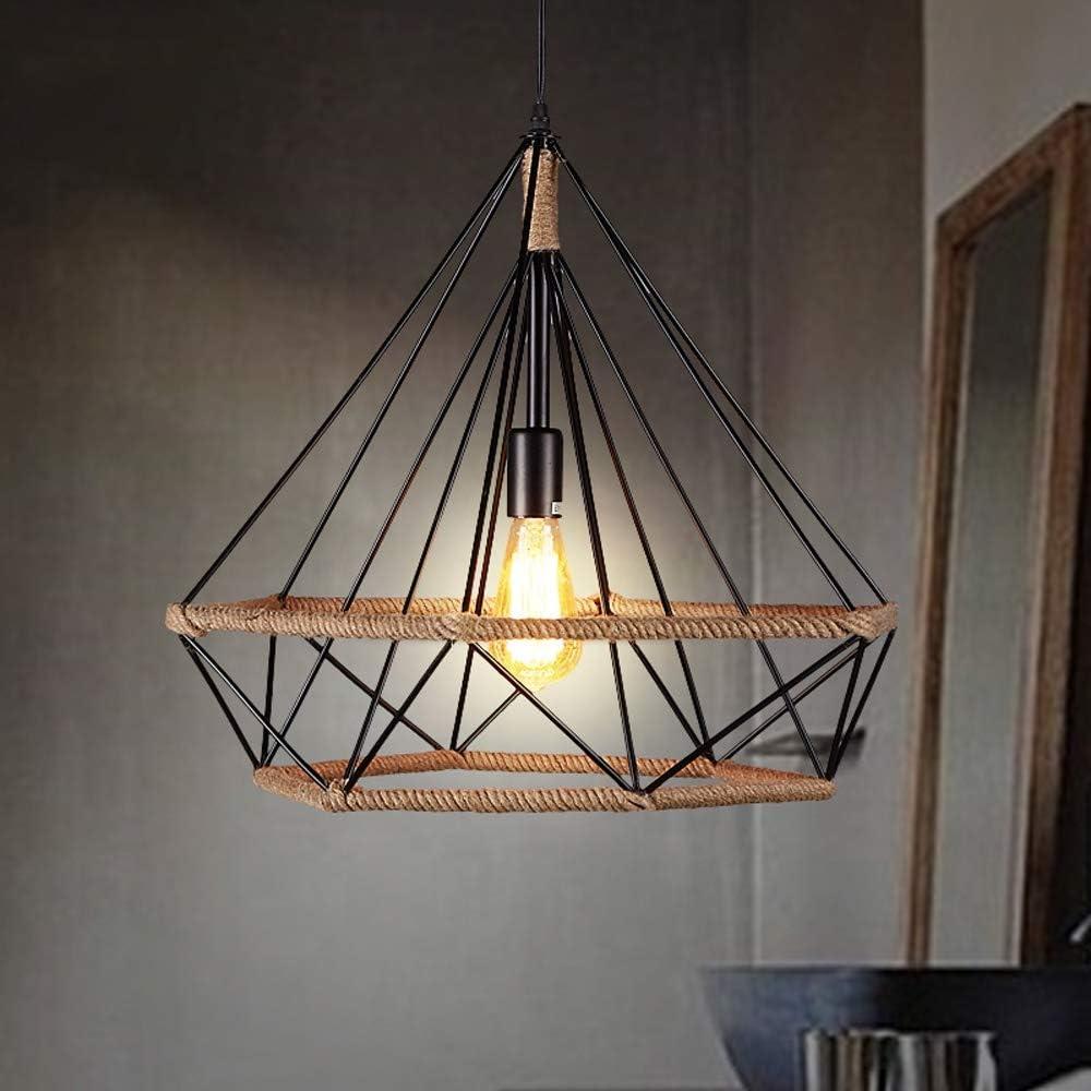 PHLPS Industrial Retro lámpara de una sola cabeza pendiente de la luz diamante Twine luz de techo del café del restaurante de iluminación LED de la decoración del pasillo del pasillo de entrada for el