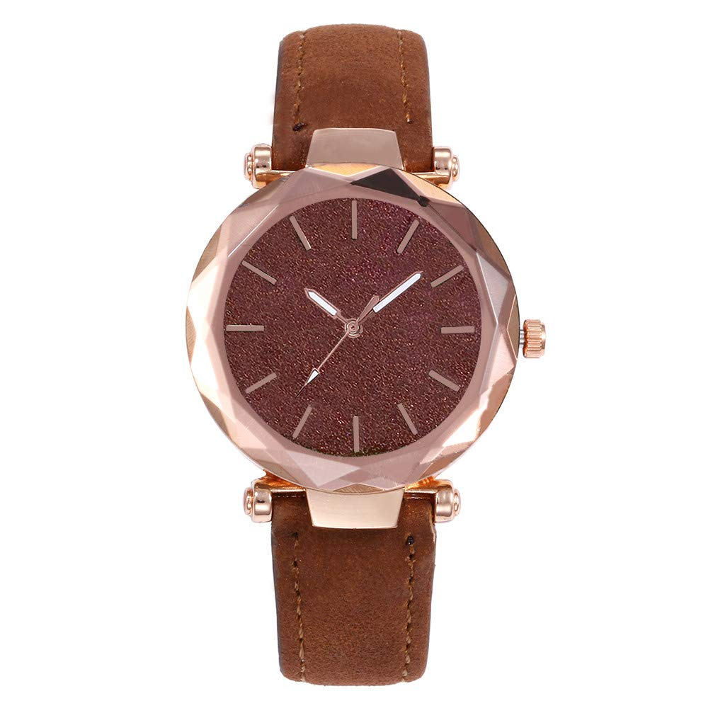 Zaidern Women Wrist Watch Unisex Fashion Design New Analog Quartz Classical Leather Watches Ladies Casual Simple Round Dial Leather Band Belt Wristwatch Luxury Business Retro Watches for Women