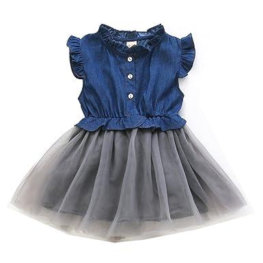 64149e02bb6ac 子供 デニム シャツ 女の子 長袖 半袖ワンピース 無地 メッシュ チュールスカート ドレス 膝上丈 かわいい