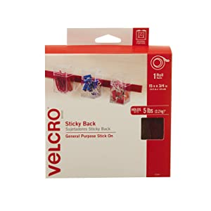 VELCRO Brand - Sticky Back Hook and Loop Fasteners – Peel and Stick Permanent Adhesive Tape Keeps Classrooms, Home, and Offices Organized – Cut-to-Length Roll |15ft x 3/4in Tape | Red