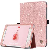 BENTOBEN Samsung Galaxy Tab A 8.0 (2015) Case, Glitter Sparkly Slim Lightweight Flip Folio PU Leather Stylus Holder Auto Sleep/Wake Protective Smart Cover for Galaxy Tab A 8.0 SM-T350, Rose Gold