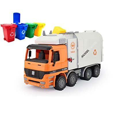 AITING Oversized Friction Powered Toys Side Loading Garbage Truck with 4 Colour Trash cans: Toys & Games