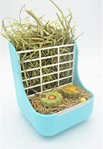 SunshineBio Hay Food Bin Feeder, Hay and Food Feeder Bowls Manger Rack for Rabbit Guinea Pig Chinchilla and Other Small Animals (Blue)
